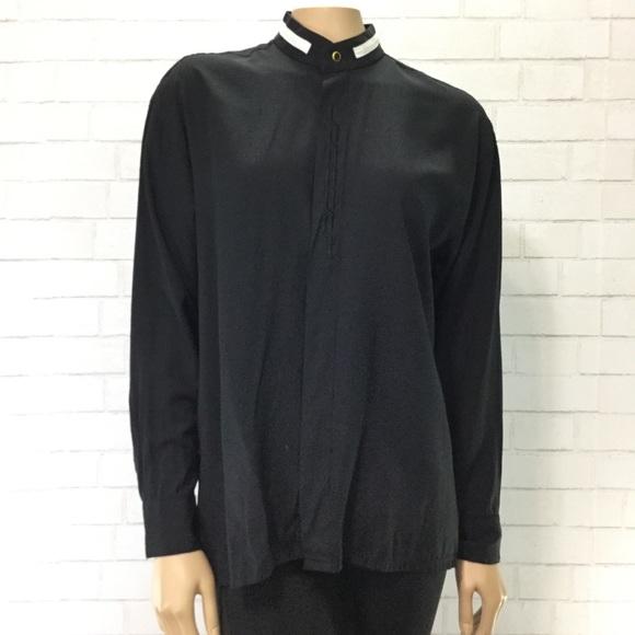 37c92f725f9bfb Mandarin Collar Black Button Up Blouse EUC. M_5becd94aaaa5b8d25623d9e6